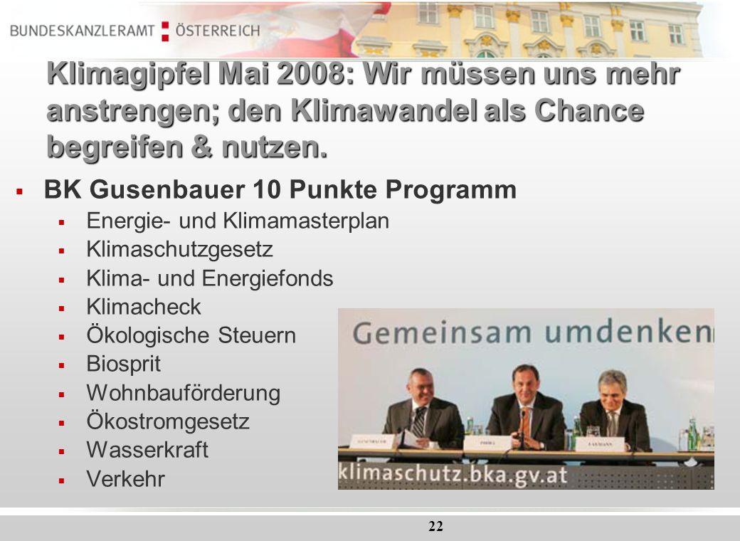Klimagipfel Mai 2008: Wir müssen uns mehr anstrengen; den Klimawandel als Chance begreifen & nutzen.
