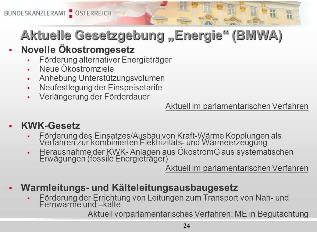 "Aktuelle Gesetzgebung ""Energie (BMWA)"