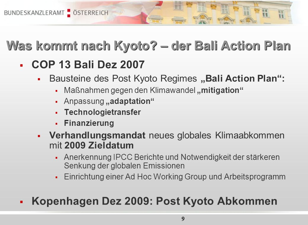 Was kommt nach Kyoto – der Bali Action Plan