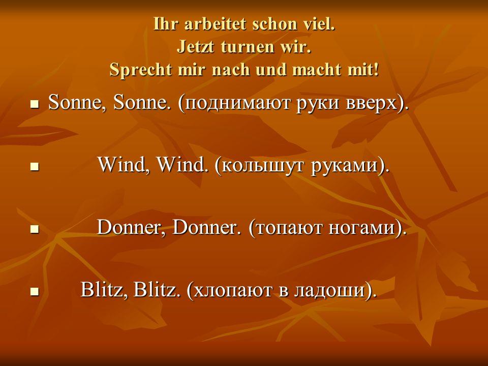Sonne, Sonne. (поднимают руки вверх). Wind, Wind. (колышут руками).