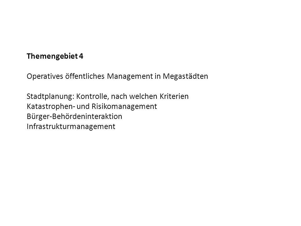 Themengebiet 4 Operatives öffentliches Management in Megastädten. Stadtplanung: Kontrolle, nach welchen Kriterien.