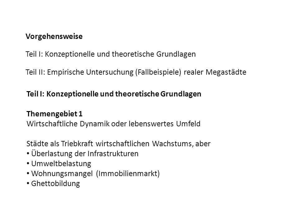 Vorgehensweise Teil I: Konzeptionelle und theoretische Grundlagen. Teil II: Empirische Untersuchung (Fallbeispiele) realer Megastädte.