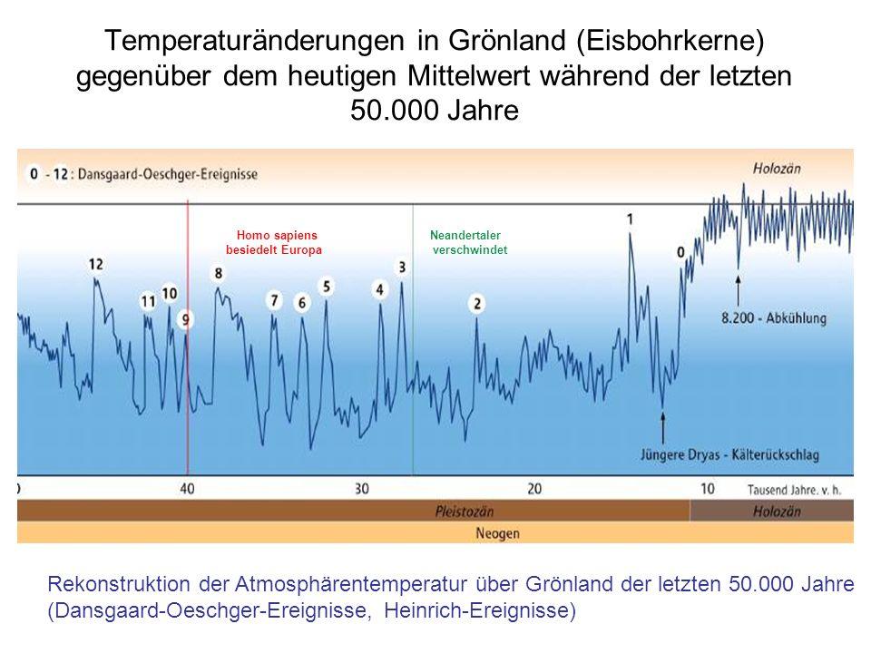 Temperaturänderungen in Grönland (Eisbohrkerne) gegenüber dem heutigen Mittelwert während der letzten 50.000 Jahre