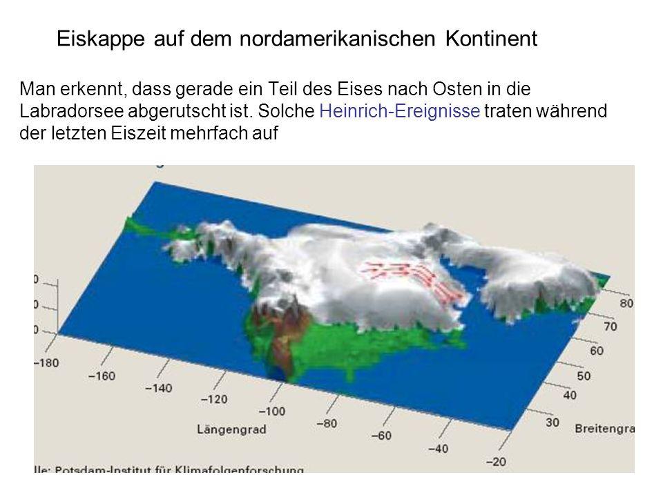 Eiskappe auf dem nordamerikanischen Kontinent Man erkennt, dass gerade ein Teil des Eises nach Osten in die Labradorsee abgerutscht ist.