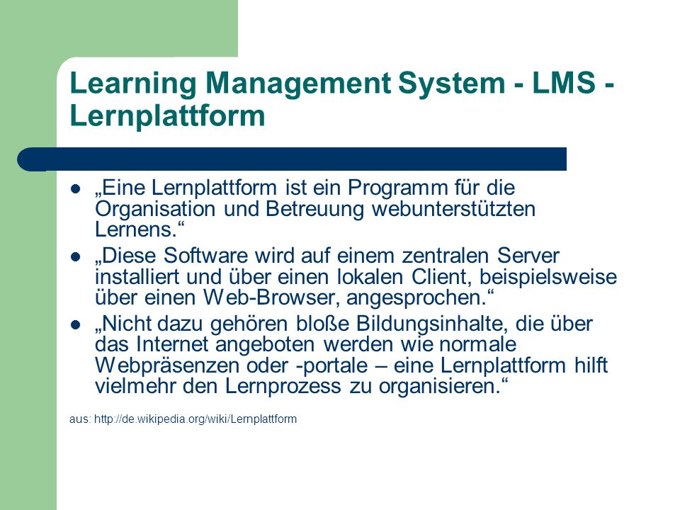 Learning Management System - LMS - Lernplattform