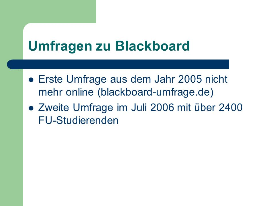 Umfragen zu Blackboard