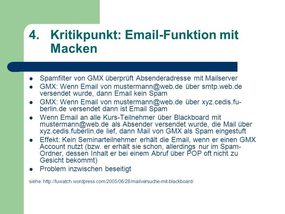 Kritikpunkt: Email-Funktion mit Macken