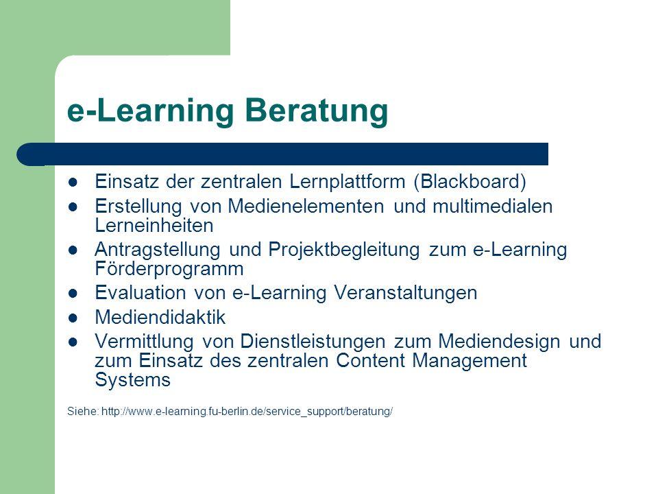 e-Learning Beratung Einsatz der zentralen Lernplattform (Blackboard)