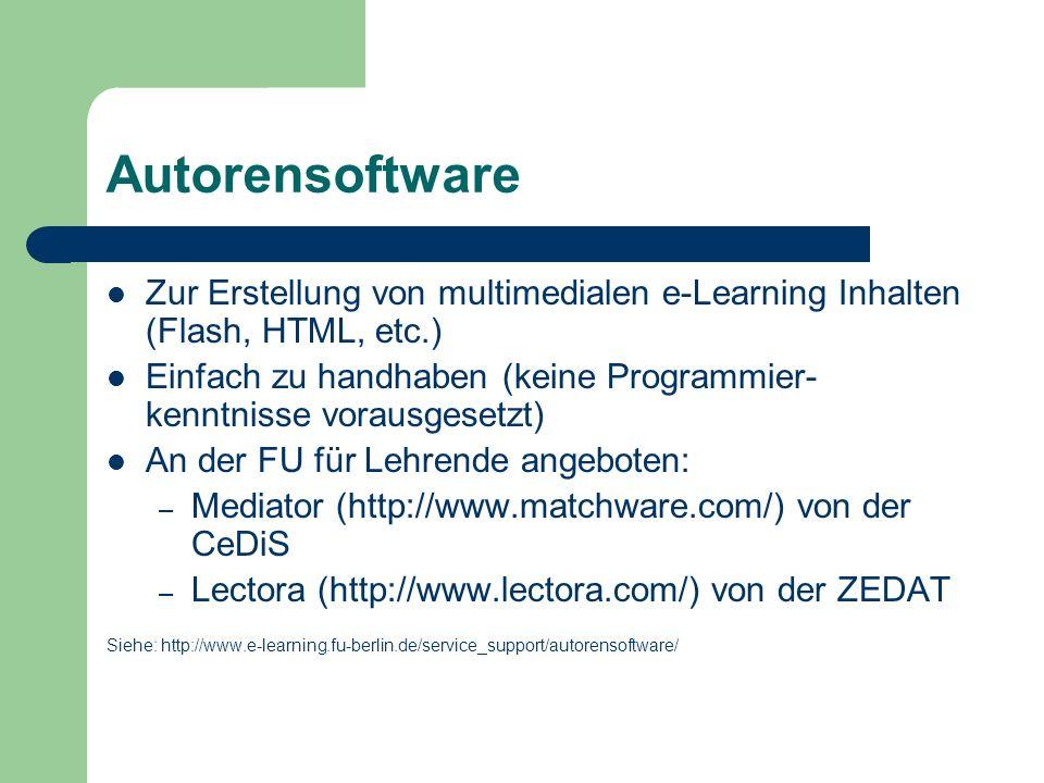 Autorensoftware Zur Erstellung von multimedialen e-Learning Inhalten (Flash, HTML, etc.)