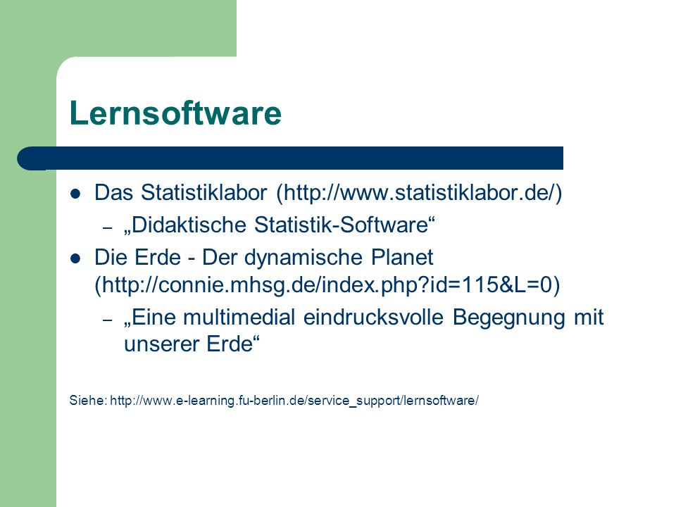Lernsoftware Das Statistiklabor (http://www.statistiklabor.de/)