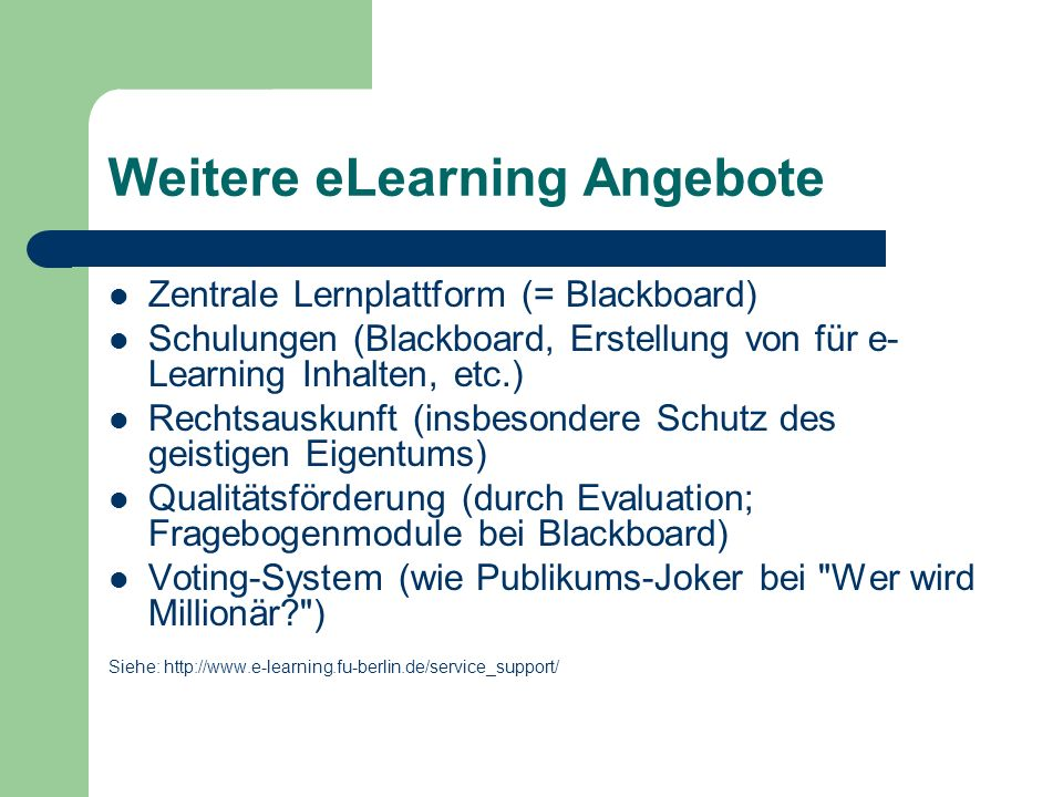 Weitere eLearning Angebote