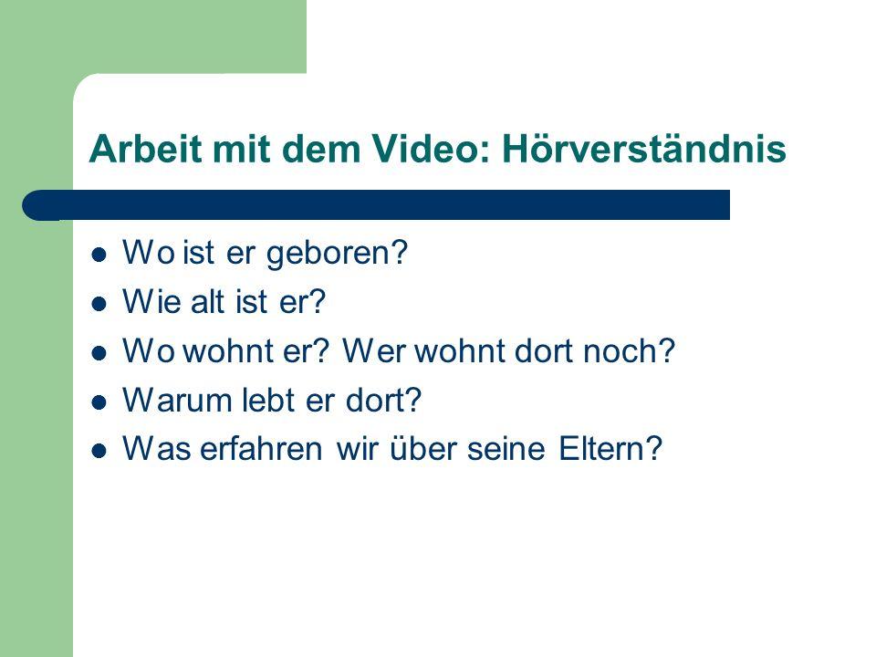 Arbeit mit dem Video: Hörverständnis