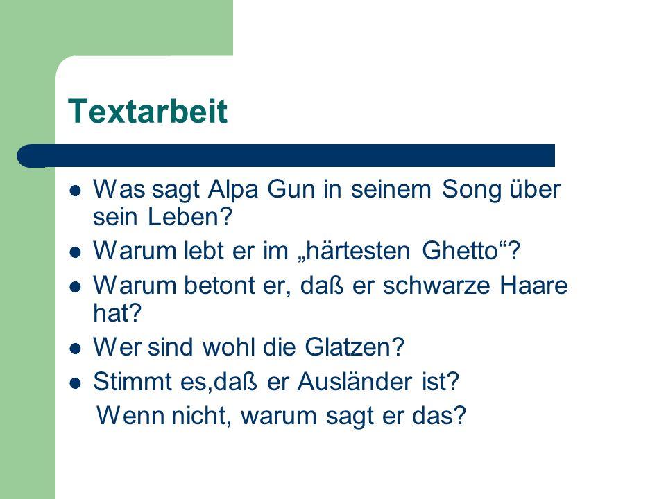 Textarbeit Was sagt Alpa Gun in seinem Song über sein Leben