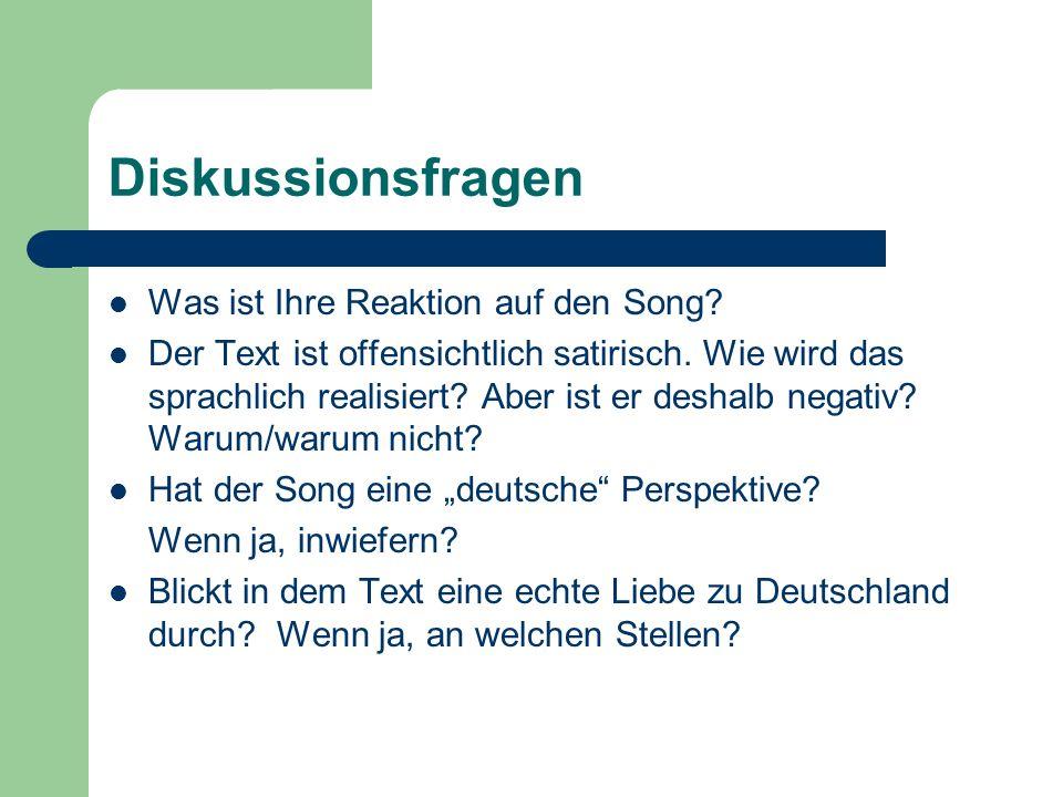 Diskussionsfragen Was ist Ihre Reaktion auf den Song