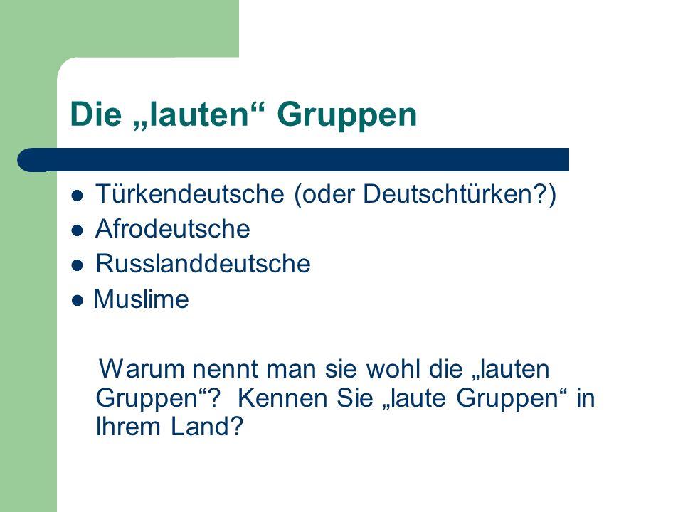 """Die """"lauten Gruppen Türkendeutsche (oder Deutschtürken ) Afrodeutsche"""