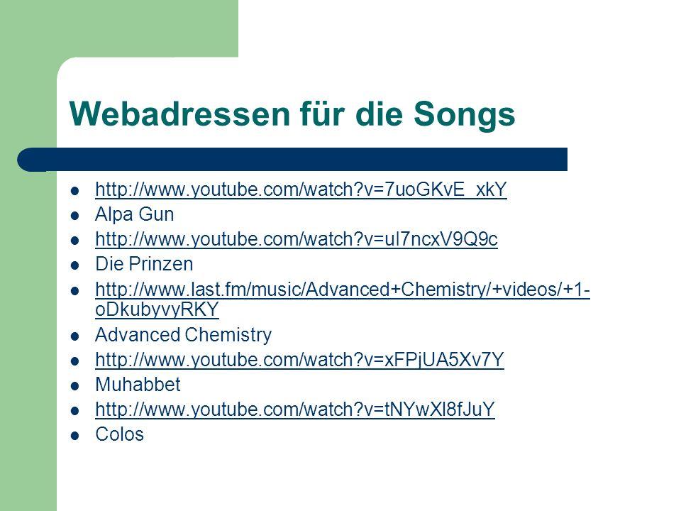 Webadressen für die Songs
