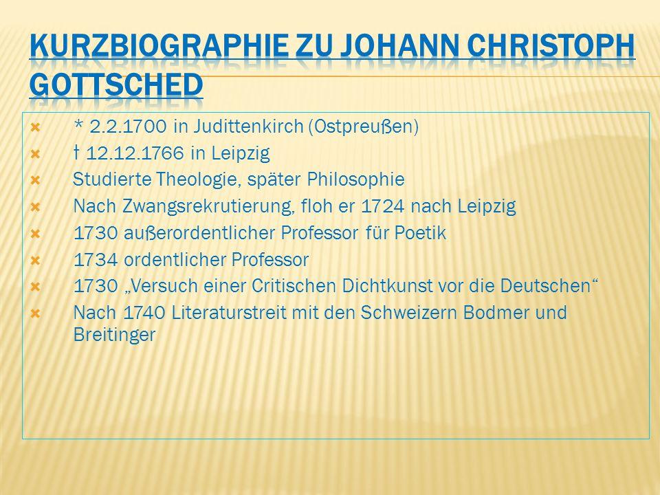 Kurzbiographie zu Johann Christoph Gottsched