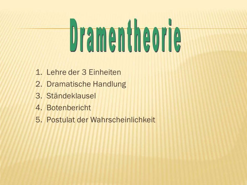 Dramentheorie 1. Lehre der 3 Einheiten 2. Dramatische Handlung