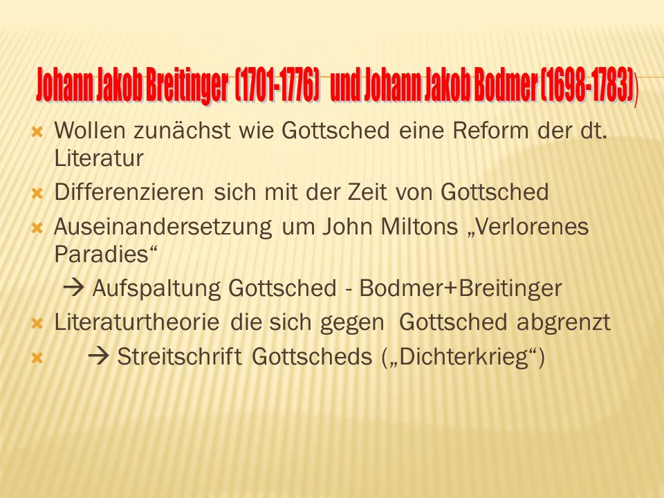 Johann Jakob Breitinger (1701-1776) und Johann Jakob Bodmer (1698-1783))