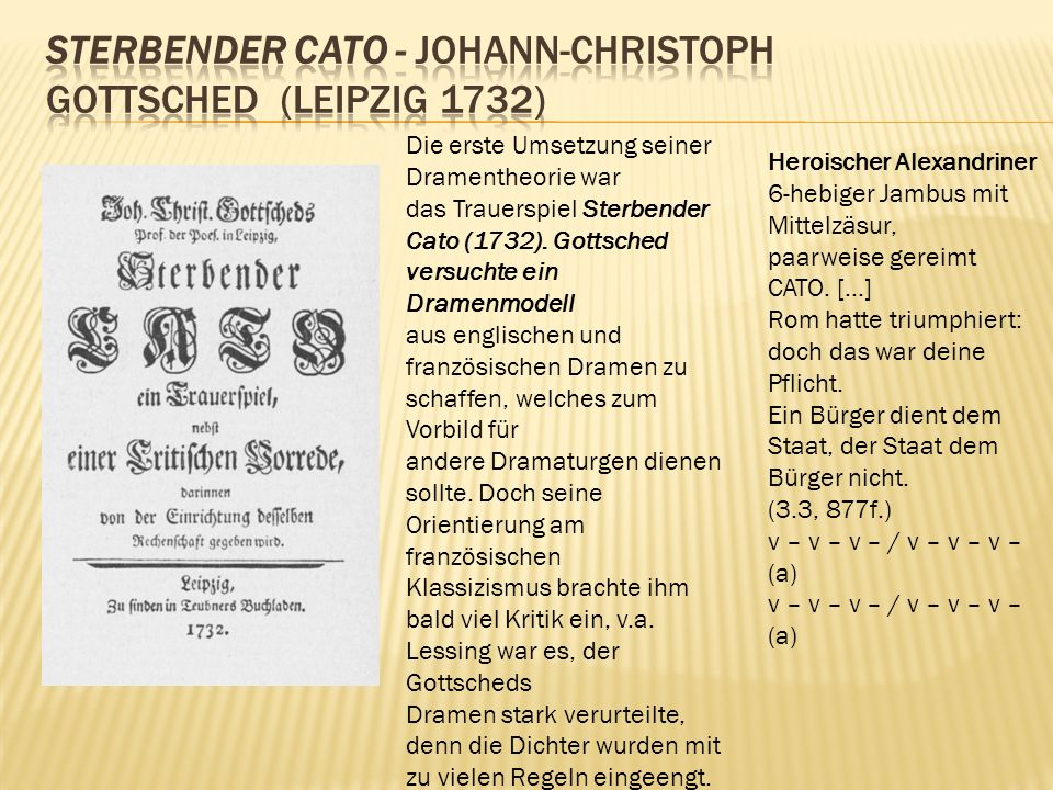 Sterbender Cato - Johann-Christoph Gottsched (Leipzig 1732)