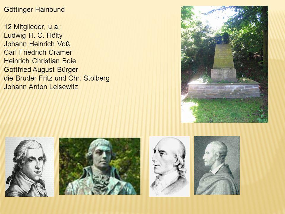 Göttinger Hainbund 12 Mitglieder, u.a.: Ludwig H. C. Hölty. Johann Heinrich Voß. Carl Friedrich Cramer.
