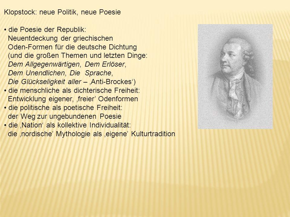 Klopstock: neue Politik, neue Poesie