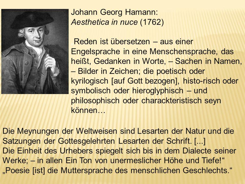 Johann Georg Hamann:Aesthetica in nuce (1762)