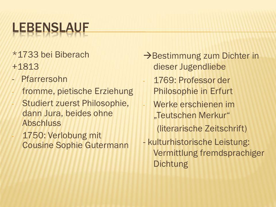 Lebenslauf *1733 bei Biberach +1813 - Pfarrersohn