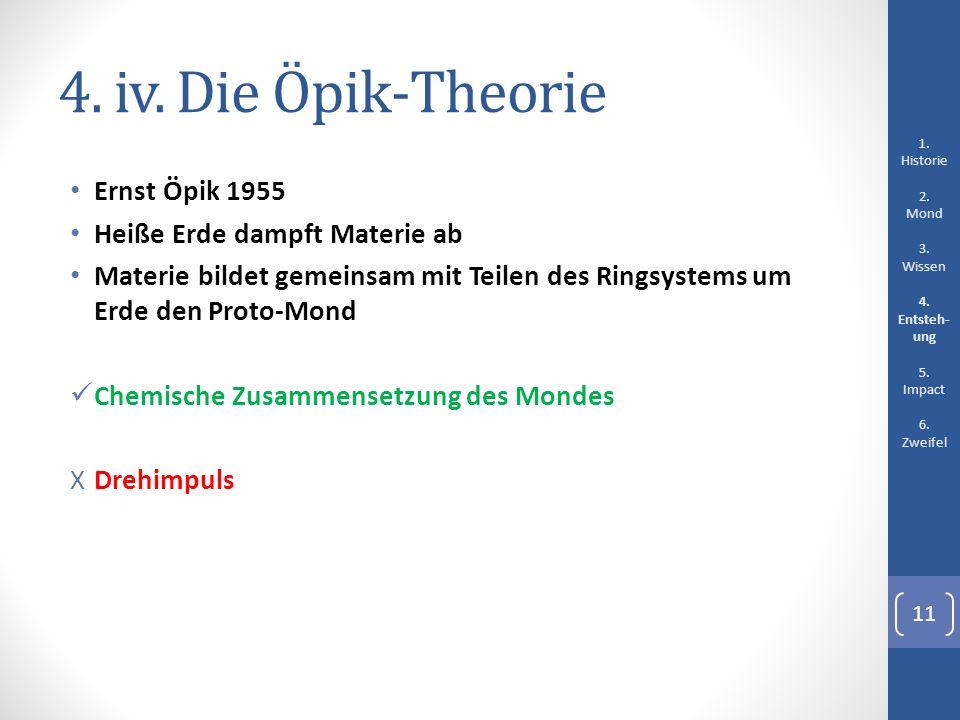 4. iv. Die Öpik-Theorie Ernst Öpik 1955 Heiße Erde dampft Materie ab