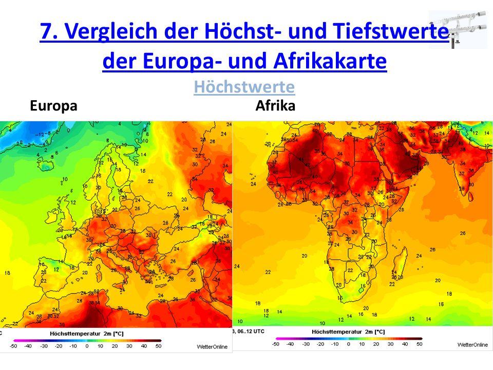 7. Vergleich der Höchst- und Tiefstwerte der Europa- und Afrikakarte Höchstwerte
