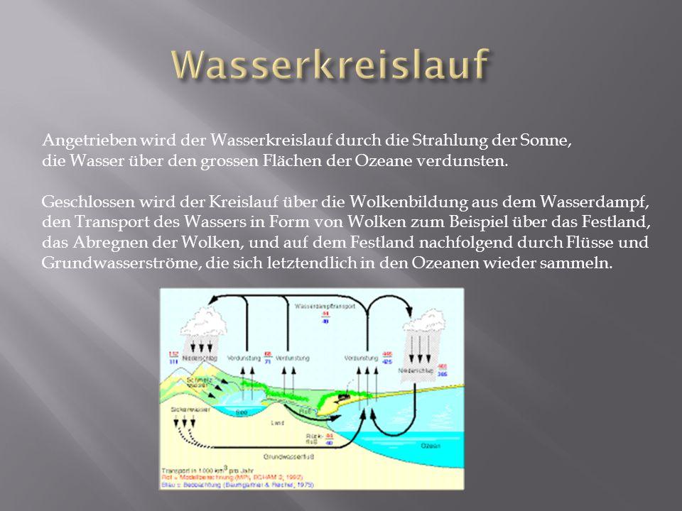 Wasserkreislauf Angetrieben wird der Wasserkreislauf durch die Strahlung der Sonne, die Wasser über den grossen Flächen der Ozeane verdunsten.