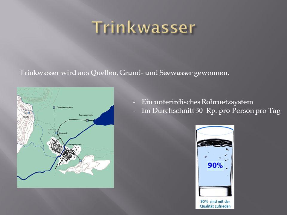 Trinkwasser Trinkwasser wird aus Quellen, Grund- und Seewasser gewonnen. Ein unterirdisches Rohrnetzsystem.