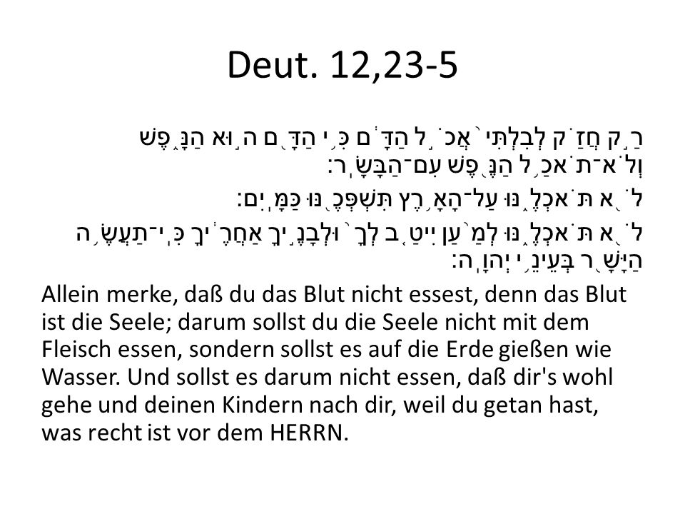 Deut. 12,23-5