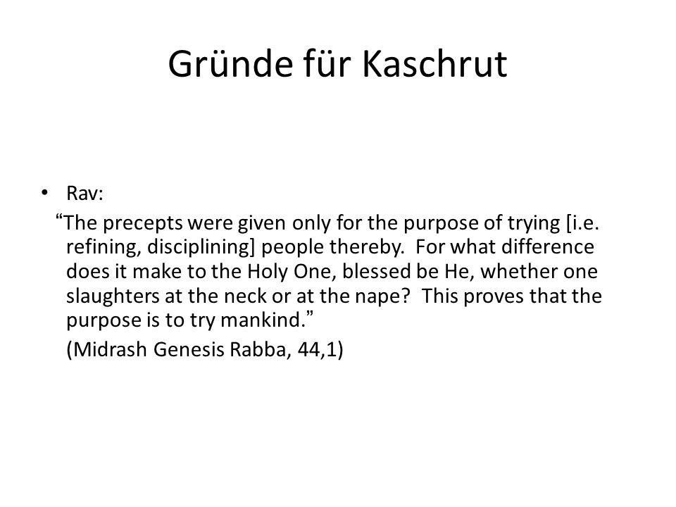 Gründe für Kaschrut Rav: