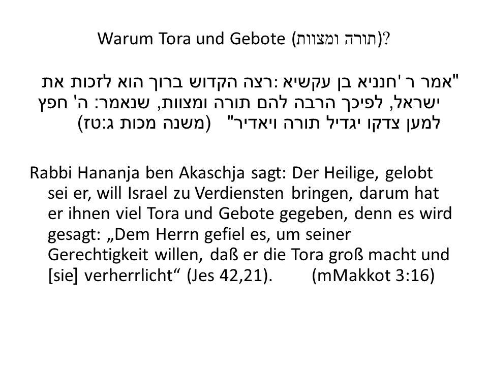 Warum Tora und Gebote (תורה ומצוות)
