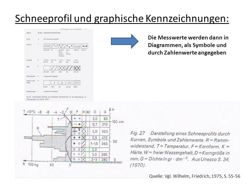 Schneeprofil und graphische Kennzeichnungen: