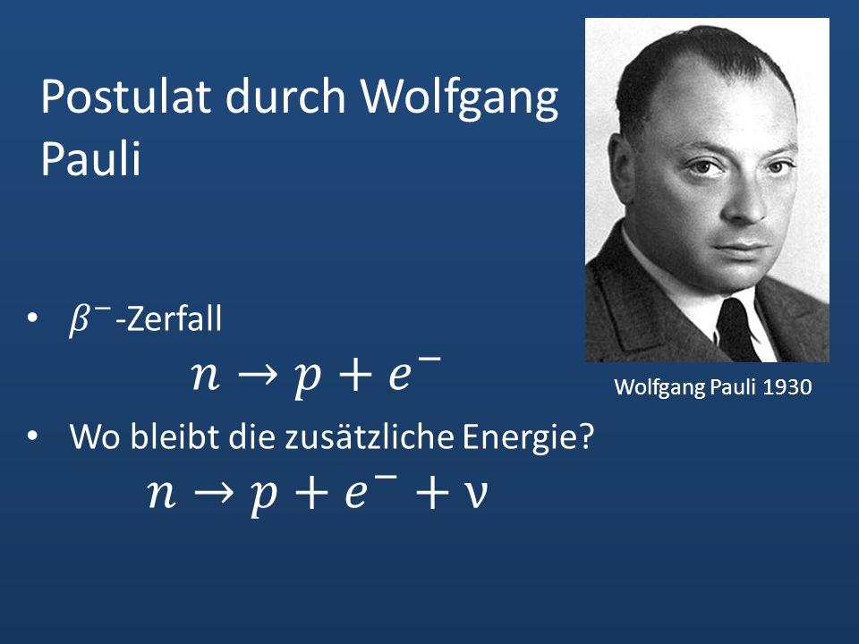Postulat durch Wolfgang Pauli