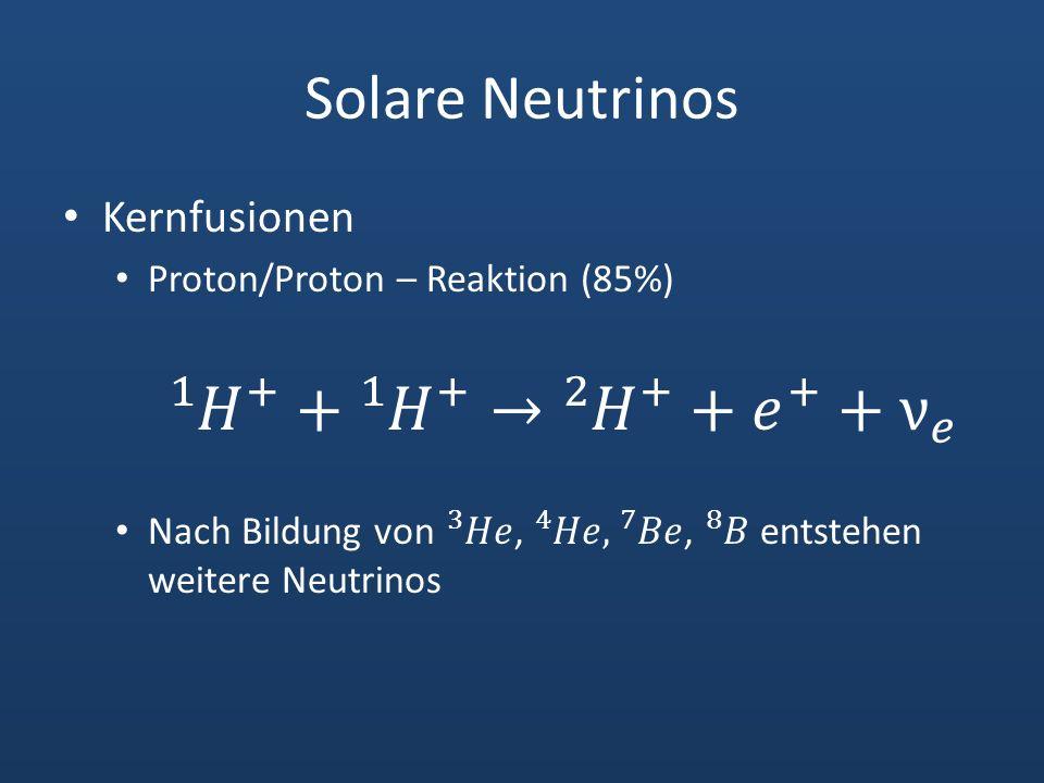 Solare Neutrinos 1 𝐻 + + 1 𝐻 + → 2 𝐻 + + 𝑒 + + ν 𝑒 Kernfusionen