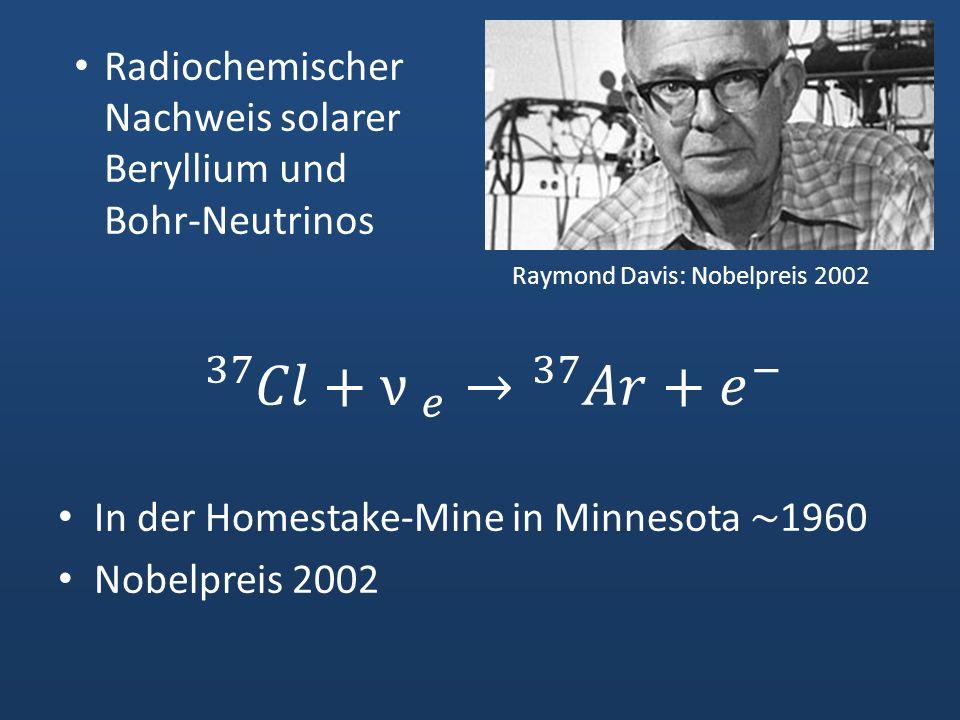 Radiochemischer Nachweis solarer Beryllium und Bohr-Neutrinos