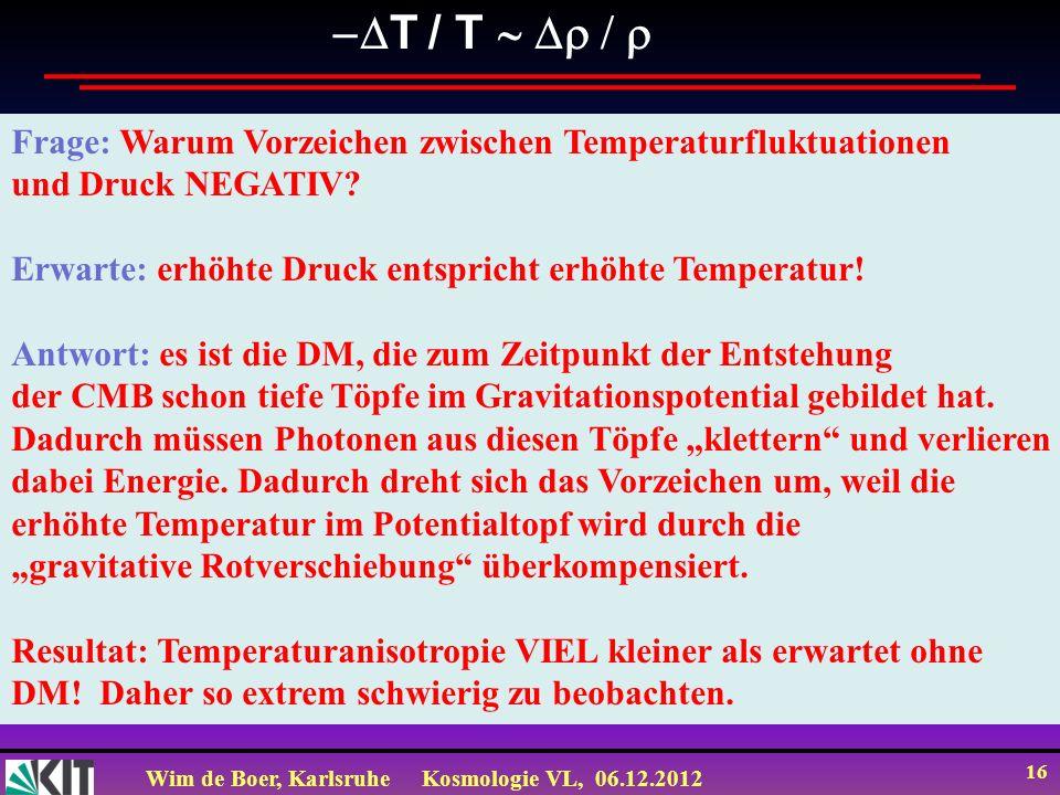 -DT / T ~ Dr / r Frage: Warum Vorzeichen zwischen Temperaturfluktuationen. und Druck NEGATIV Erwarte: erhöhte Druck entspricht erhöhte Temperatur!