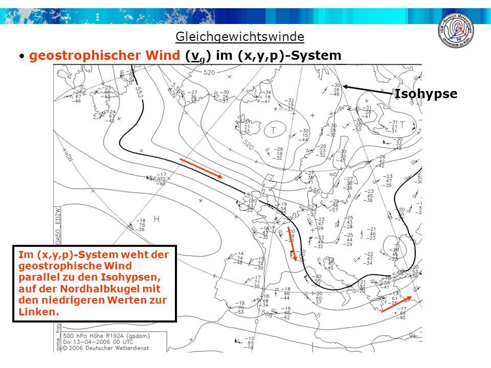 geostrophischer Wind (vg) im (x,y,p)-System