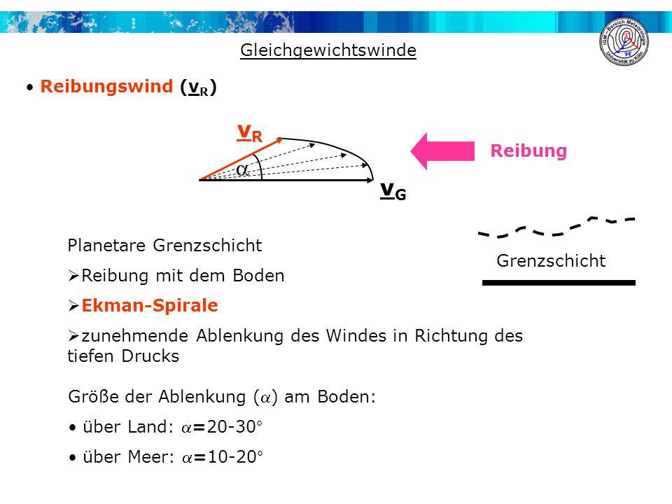 vR  vG Gleichgewichtswinde Reibungswind (vR) Reibung