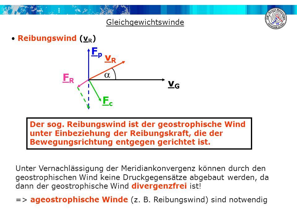 Fp vR  FR vG Fc Gleichgewichtswinde Reibungswind (vR)
