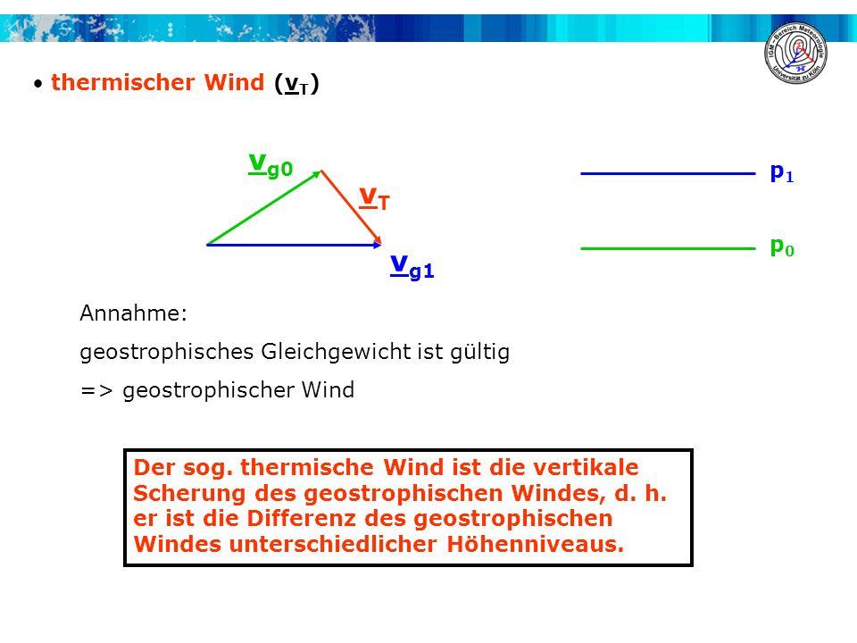 vg0 vT vg1 thermischer Wind (vT) p1 p0 Annahme: