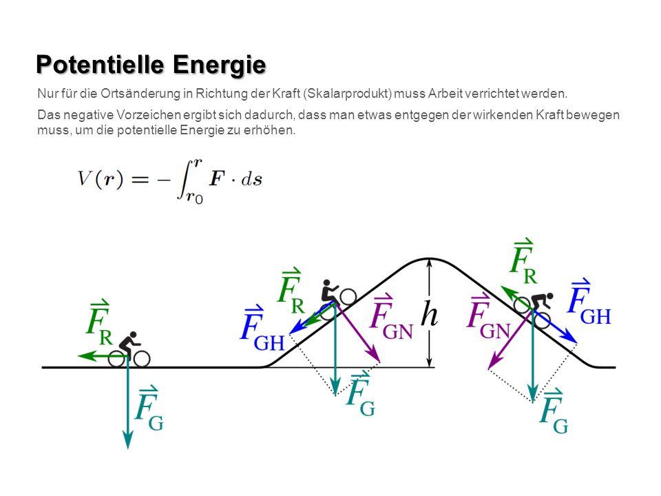 Potentielle Energie Nur für die Ortsänderung in Richtung der Kraft (Skalarprodukt) muss Arbeit verrichtet werden.