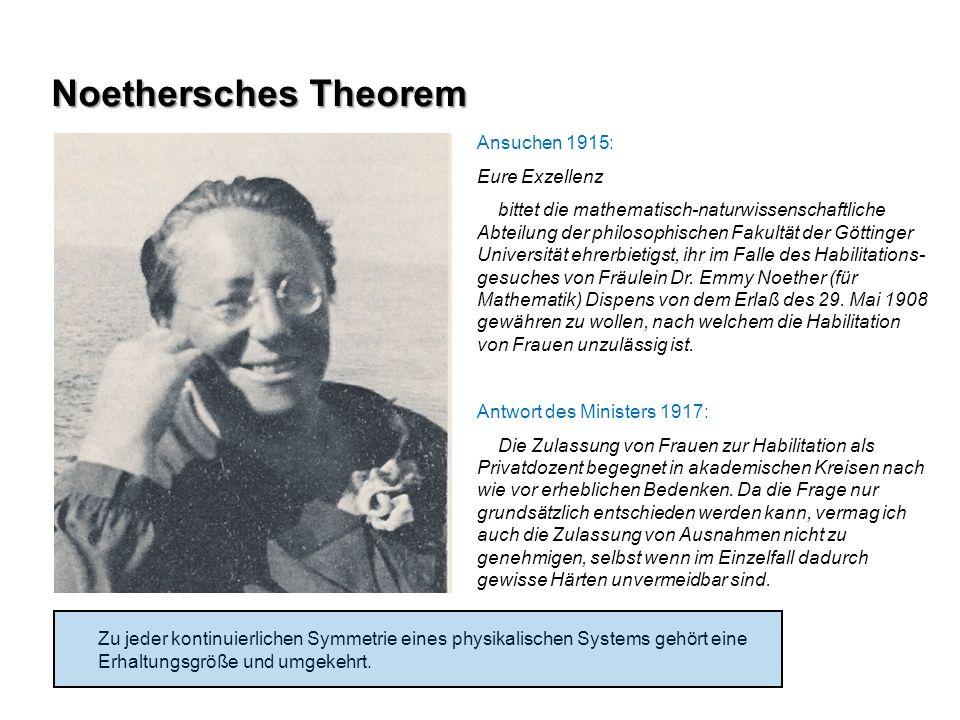 Noethersches Theorem Ansuchen 1915: Eure Exzellenz