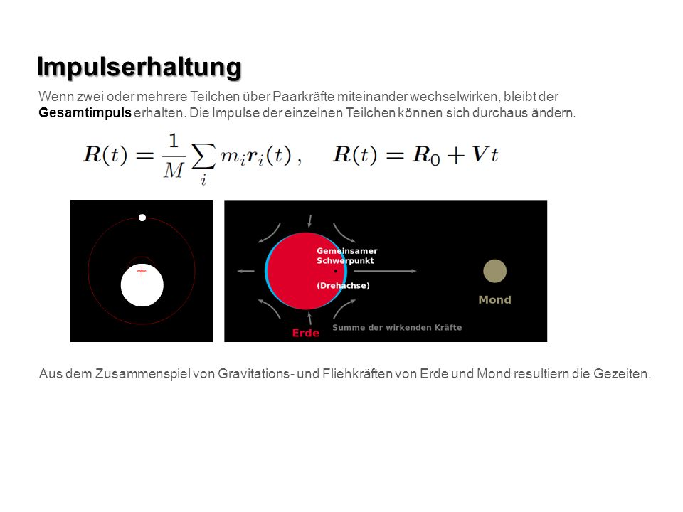 Impulserhaltung Wenn zwei oder mehrere Teilchen über Paarkräfte miteinander wechselwirken, bleibt der.