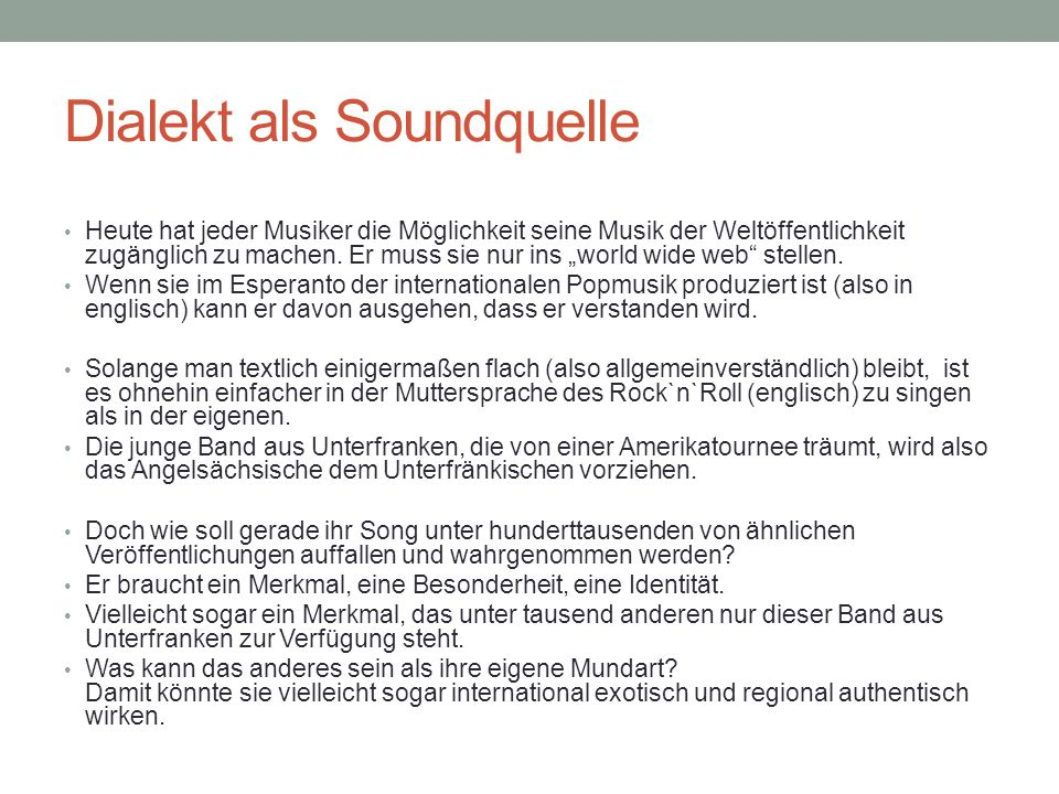 Dialekt als Soundquelle