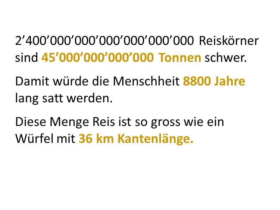 2'400'000'000'000'000'000'000 Reiskörner sind 45'000'000'000'000 Tonnen schwer.