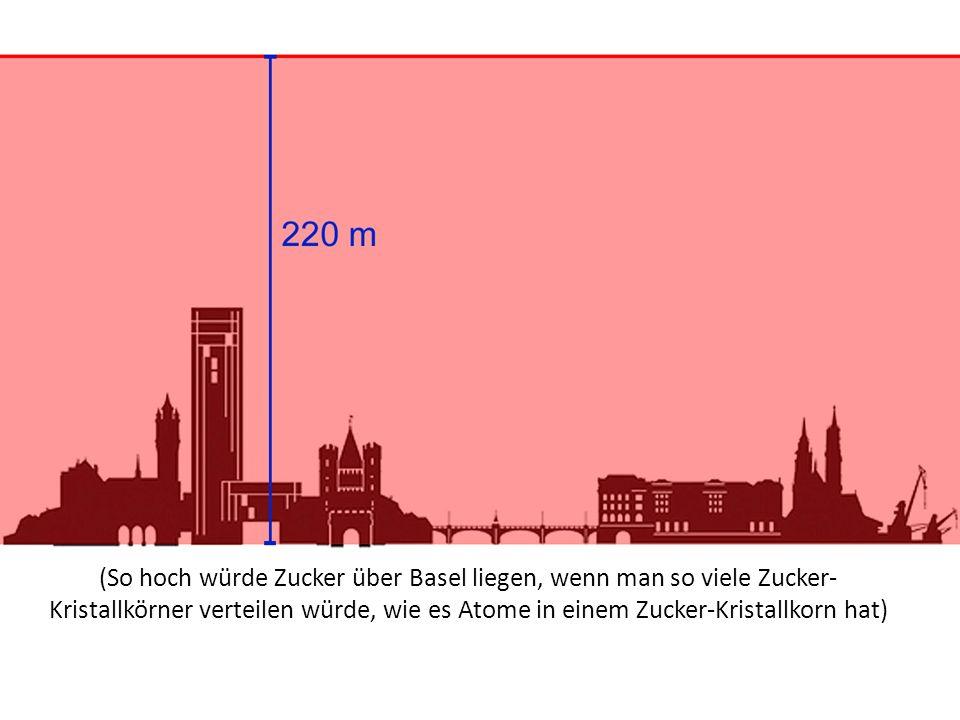 (So hoch würde Zucker über Basel liegen, wenn man so viele Zucker-Kristallkörner verteilen würde, wie es Atome in einem Zucker-Kristallkorn hat)